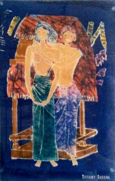 Kampung life. A batik painting I did as a teenager when I went to Bali. This is scene is of 2 women living in the village. They are Balinese women wearing sarungs and topless. I painted and drew ...