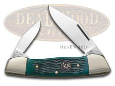 HEN & ROOSTER AND Jigged Green Bone Canoe Stainless Pocket Knife Knives