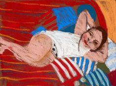Chantal Joffe Bella Reclining, 2016 pastel on paper cm 30 x 40 Courtesy Galleria Monica De Cardenas, Milano/Zuoz/Lugano