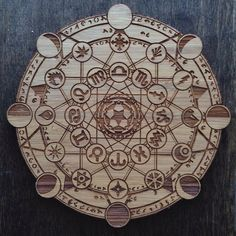 Zodiac and lunar cycle crystal grid, beautiful for any alter. Great idea for a DIY wood burned grid.