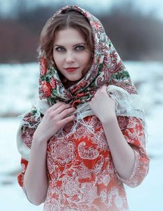 Russian Beauty, Russian Fashion, Russian Art, Style Russe, Hair Cover, Hijab Style, Hijab Fashion, Ukraine, Cute Girls