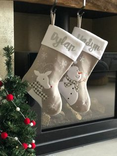 If you're looking for some beautiful and unique Christmas stockings here are 28 of them. These Christmas stockings are for every single member of your. Scandinavian Christmas Decorations, Nordic Christmas, Christmas Items, Rustic Christmas, Christmas Fun, Christmas Wreaths, Xmas Decorations, Baby Christmas Stocking, Family Christmas Stockings