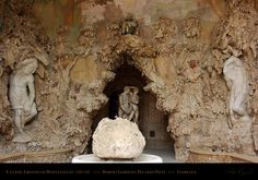 In the days of the Medici, the grotto was accented by having water flow down these interior walls, which served both to cool the space during the hot Tuscan summers and to create the effect of an actual cavern.