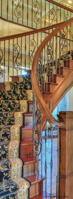 Your luxury real estate destination. Browse & search all the latest million dollar home listings & mansions for sale Wrought Iron Staircase, Staircase Handrail, Banisters, Railings, Rustic Stairs, Oak Trim, Carpet Stairs, Wall Carpet, Mediterranean Decor