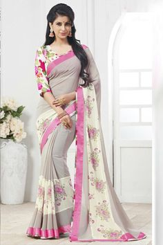 Light Taupe Gray Faux Georgette #Printed Casual Saree Sku Code: 456-6597SA653013 US $47.00 http://www.sareez.com/light-taupe-gray-faux-georgette-printed-casual-saree.html