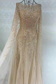 Luxurious A-line Long Sleeves Beads Long Prom Dress Evening Dress