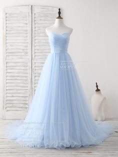 Simple sweetheart blue tulle long prom dress blue evening dress, blue bridesmaid dress