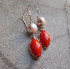 Red Coral earringspearl earrings  Sterling silver by Studio1980, $125.00
