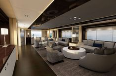 Have you ever wondered what it would be like to wander around inside a plush luxury yacht? Well, this is your lucky day. We've got a gallery of luxurious yacht Luxury Yacht Interior, Luxury Yachts, Luxury Boats, Sunseeker Yachts, Yacht Builders, Interior Design Magazine, Yacht Design, Home Design, Design Ideas