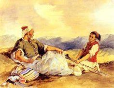 deux `moroccans` assis dans le campagne - (Eugène Delacroix)