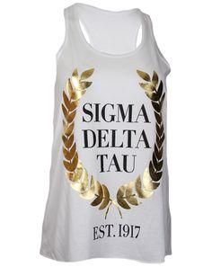 Sigma Delta Tau We Struck Gold Tank Top by Adam Block Design | Custom Greek Apparel & Sorority Clothes | www.adamblockdesign.com