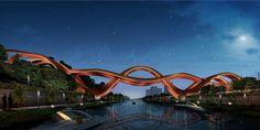 Proposé par l'agence néerlandaise NEXT Architects, ce pont piétonnier a remporté un concours organisé par la ville de Changsha située dans la province de Hunan en Chine. Sa construction débutera en 2014.