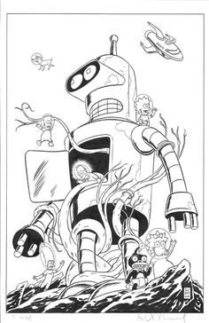 The Simpsons & Bender - Mike Allred