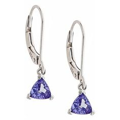Anika and August Sterling Silver Trillion-cut Tanzanite Lever Earrings ($81) ❤ liked on Polyvore featuring jewelry, earrings, blue, blue earrings, tanzanite jewellery, sterling silver jewellery, sterling silver earrings and blue jewelry