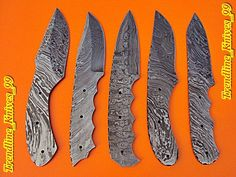 Damascus Custom Handmade Lot 5 Pics Full Tang Hunting Knife Blank Blade . #BestSteelWarrior