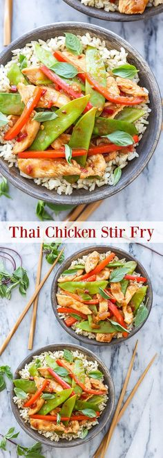 This Thai Chicken Stir Fry comes together in under 30 minutes and is full of savory, sweet and spicy flavors. An easy and healthy homemade takeout dinner!
