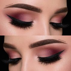 Maquillage yeux: rose/prune