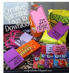 Valentines Day Treat Bag Topper Labels - Digital File by mudpiestudio