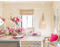 Perfect pink and gold table setting