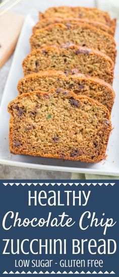 This Healthy Chocolate Chip Zucchini Bread Recipe is perfect for a simple snack or nutritious breakfast. Low in sugar, and made with oat flour, it's delicious with a big cup of coffee and a great healthy way to use up summer zucchini! This post is sponsored by Bob's Red Mill but all opinions are my own. | healthy zucchini bread | zucchini bread | low sugar zucchini bread | healthy breakfast #healthy
