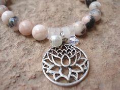 Lotus Blossum Bracelet,Tibetan Silver Charm by MakeMeSmileJewelry,