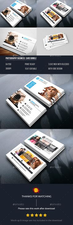 Photography Business Card Bundle — Photoshop PSD #creative card #cool • Available here → https://graphicriver.net/item/photography-business-card-bundle/14067724?ref=pxcr
