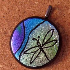 Dragonfly Dichroic Pendant Etched Pendant Glass by GlassMystique, $28.00