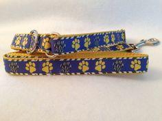 Martingale Collar Paw Print, Purple Martingale Dog Collar, Purple and Gold Dog…