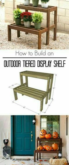 Learn how to build an outdoor tiered display shelf, with FREE building plans. Perfect to display holiday decor or to use year-round. wood projects projects diy projects for beginners projects ideas projects plans