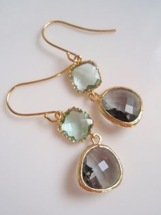 gray & green wedding earrings