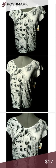 """STYLE&CO. Arebesque T-shirt Small White Gray Flora Individual monitors may display slightly different colors or hues...  NEW WITH TAGS-  STYLE&CO. for Macy's Tee shirt  TAG SIZE: S BUST: 38"""" LENGTH: 26"""" from the top of the shoulder down  Fabulous Floral and fleur details V neck Generous fit Soft fabric Short sleeves White, grays and black in color NEW NEW NEW! Style & Co Tops Tees - Short Sleeve"""