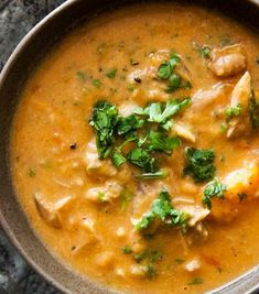 Scrumpdillyicious: African Chicken, Peanut Spinach Stew, Kalyns Kitchen®: West African Chicken and Peanut Stew with Chiles, Ginger, and Gre. Soup Recipes, Chicken Recipes, Healthy Recipes, Yummy Recipes, Baguette, Simple Green Salad, Salty Foods, Peanut Sauce, Food Print