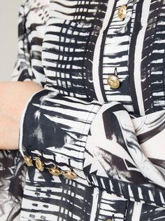 Balmain monochrome silk chiffon shirts. At Le Louvre, Melbourne now.