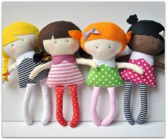 DIY-dolls, they are so cute! Add glasses, freckles, curls and make a personal doll.