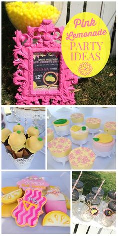 A pink lemonade girl birthday party with strawberry shortcakes, pink lemonade cupcakes, and chocolate covered Oreos! See more party ideas at CatchMyParty.com!