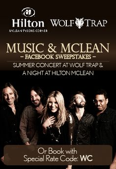 The #musicandmclean #sweepstakes has a week left! See Grace Potter and the Nocturnals at Wolf Trap, dinner at Härth and spend the night with us! #wolftrap2013 PIN for your local, music loving friends.