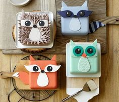 Woodland Animal Cakes. I might have to make my own birthday cake this year, so i can have a fox <3