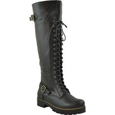 Womens Knee High Boots Over The Knee Lace Up Combat Boots Black SZ 5.5 ($38) ❤ liked on Polyvore featuring shoes, boots, black, military combat boots, black knee high lace up boots, black over-the-knee boots, black combat boots and black lace up boots