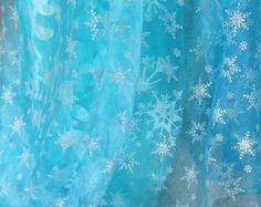 Frozen Fabric Queen Elsa Ice Sky Blue Snowflake by ErikaSetsyShop