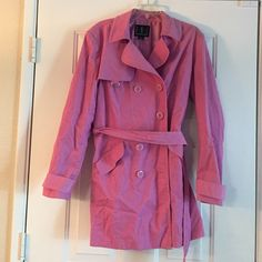 INC sz XL corduroy trench On hold for @lates INC sz XL corduroy trench. Please note this coat needs cleaning and is missing a button otherwise in excellent condition no stains just dusty!  The color is a mixture of lavender and pink. Coat is sold as is that's why the price is so low INC International Concepts Jackets & Coats Trench Coats