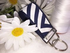Navy & White Chevron, Fabric Key Fob, MINI, Wristlet Keychain, Very Popular Fabric, Fabric Keyring, Affordable Mother's Day Gift by PhenomenalWomenShop on Etsy