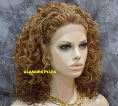 """22"""" Curly Strawberry Golden Blonde Mix Full Lace Front Wig Heat Ok Hair Piece…"""