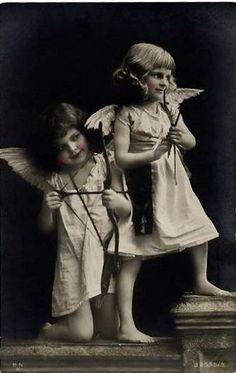 Vintage Postcard ~ Little Cupid Girls