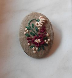 Embroidered jewelry fabric brooch flower by RedWorkStitches, $20.00