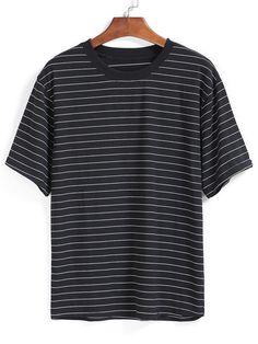 Shop Striped Loose Black T-shirt online. SheIn offers Striped Loose Black T-shirt & more to fit your fashionable needs.
