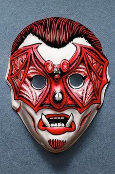 vampire with red bat mask -- vintage retro plastic Halloween mask Halloween Items, Halloween Masks, Holidays Halloween, Spooky Halloween, Vintage Halloween, Halloween Crafts, Halloween Makeup, Vintage Horror, Retro Vintage