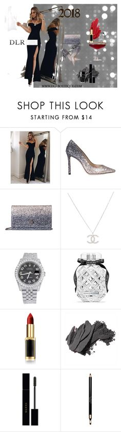 """Luxury 2018"" by dlrluxuryboutique on Polyvore featuring moda, Jimmy Choo, Rolex, Victoria's Secret, L'Oréal Paris, Bobbi Brown Cosmetics, Gucci, Clarins e TOUS"