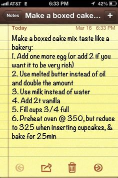 Make a boxed cake mix taste like a bakery, cupcake edition:. See my results on my Pinterest Pins i have tried Board.