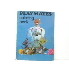 Vintage Coloring book  Playmates  Cute animal images by ismoyo, $6.00