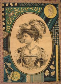 Antique Trunk Artwork, Lady In Feathered Hat